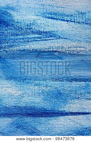 Abstract Blue Watercolor on Canvas 6