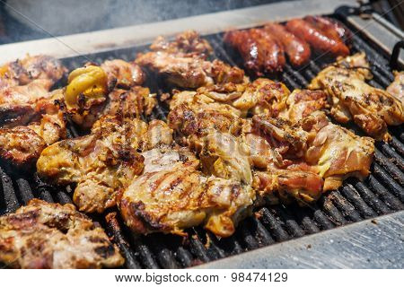 Barbecue Grilled Chicken and sausages. Street american food
