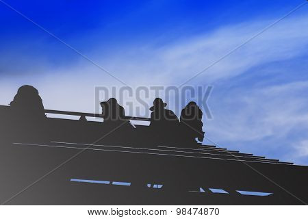Construction Workers Install Steel Roof Silhouette.