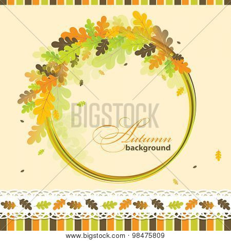 Oak autumn background, vector illustration
