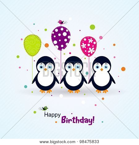 Template birthday greeting card, vector scrap illustration