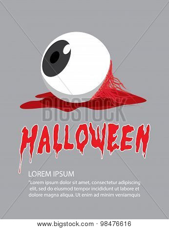 Poster Of Eyeball On The Floor On Halloween In Order To Makes The Horror And Scary Flat Vector.