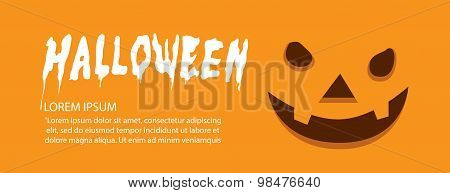 Banner Of Orange Face Pumpkin On Halloween Flat Vector.