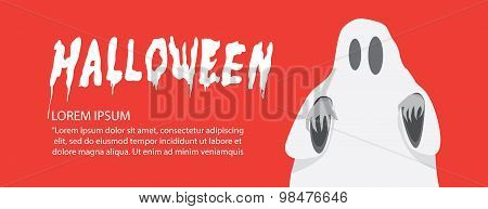Red Banner Of White Sheet Ghost On Halloween Flat Vector.