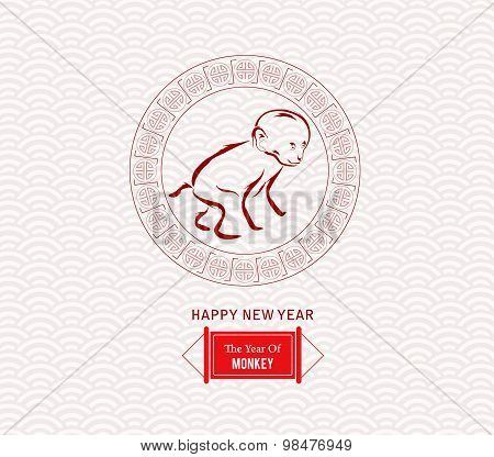 Chinese zodiac monkey. 2016 year of the monkey