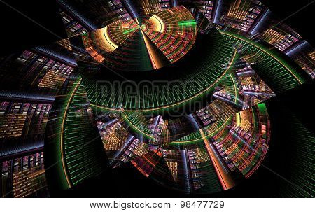 Abstract Fractal Computer-generated Tech Background