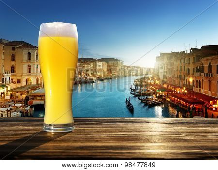 fresh  unfiltered beer in Venice, Italy