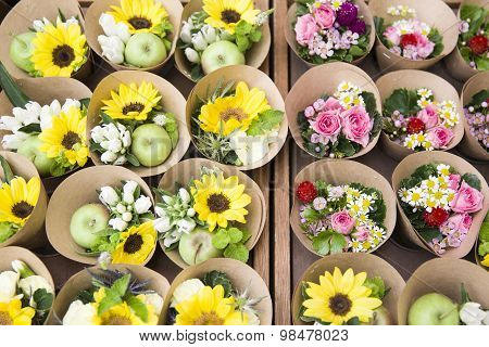 A lot of beautiful colorful bouquets for sale