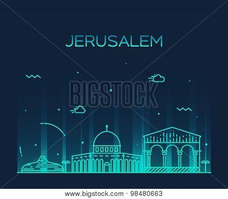 Jerusalem skyline trendy vector linear style