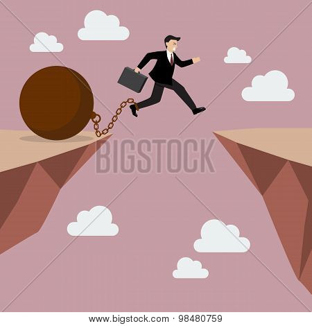 Businessman Jumps The Abyss With The Weight