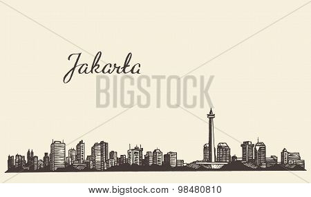 Jakarta skyline engraved illustration drawn sketch