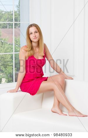 full-length portrait of beautiful young blond woman