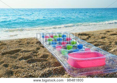 Water mattress on the beach