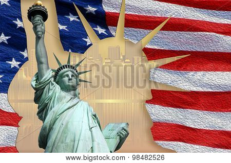 Statue of Liberty on Island in New York with flag