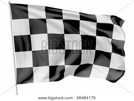 Checkered Flag On Flagpole