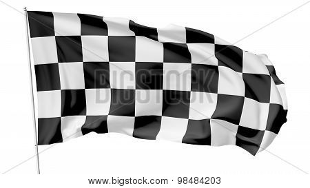 Checkered Flag On Flagpole