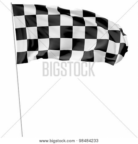 Checkered Flag On Long Flagpole