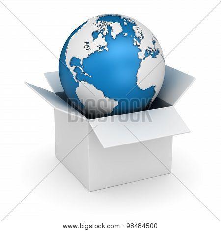 White Box And World Map
