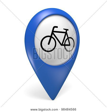 Blue map pointer 3D icon with a bicycle symbol for bike paths and cycling