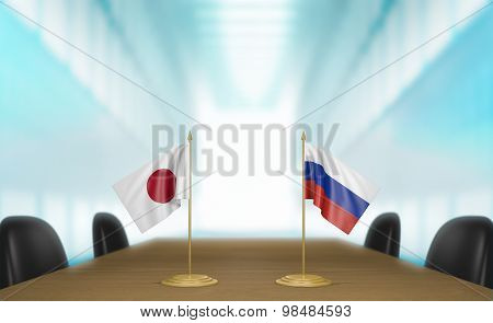 Japan and Russia relations and trade deal talks 3D rendering