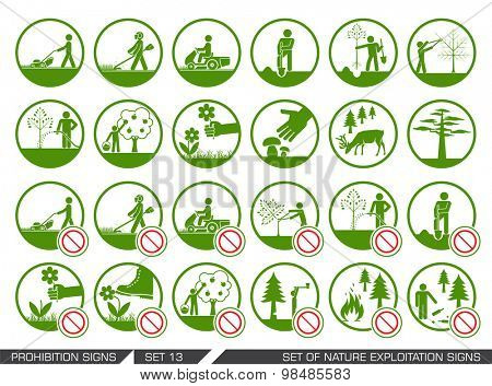 Set of nature exploitation signs. Set of signs that signify permitted and prohibited behavior in nature. Collection of forest and parks signs. Exploitation of nature.