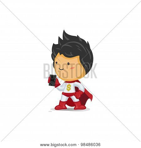 Super Hero of Wealth Holding a Mobile