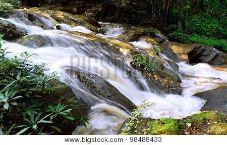 Beautiful Nature Waterfall in gully Chiangmai , thailand