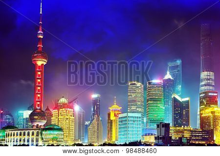Shanghai, China - May 24, 2015:skyline Night  View From Bund Waterfront On Pudong New Area And Pearl