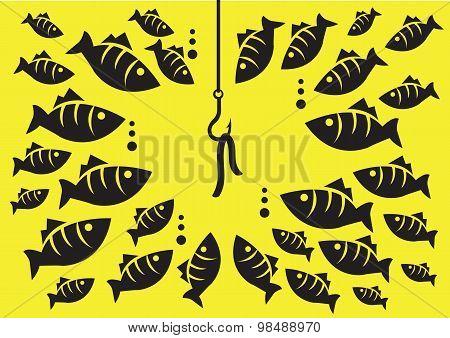 Underwater Fish Surrounding Hook With Bait Vector Illustration