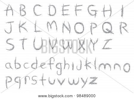 Sketchy Crayon Textured Alphabets Vector Font Design