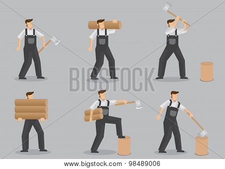 Woodcutter Vector Character Set