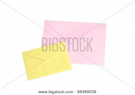 Pink And Yellow Envelope Isolate On White With Clipping Path