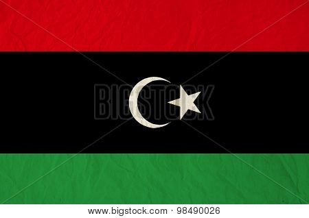Flag Of Libya With Old Vintage Paper Texture Background