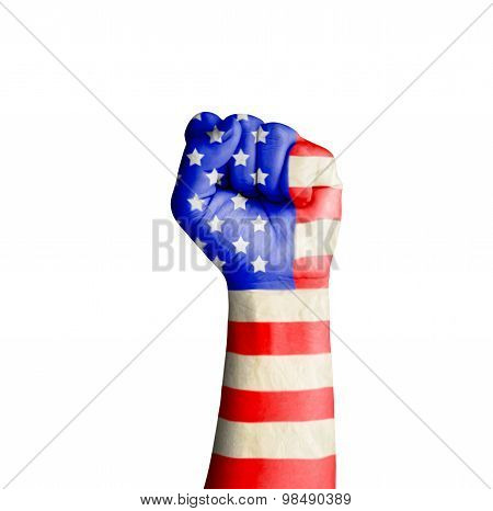 Fist Hand With Usa Flag Patterned Isolate On White With Clipping Path