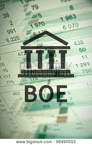 Building icon with inscription BOE