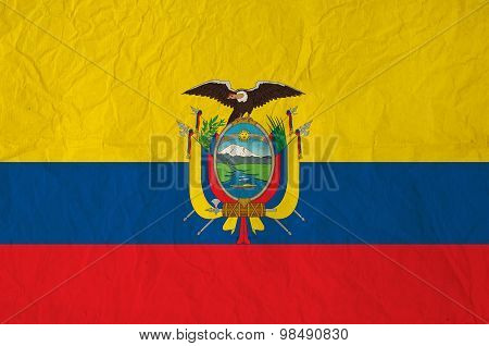 Flag Of The Ecuador With Vintage Old Paper
