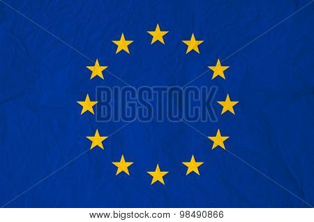 Flag Of Europe With Old Vintage Paper Texture
