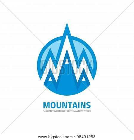 Mountains - vector logo concept illustration. Expedition logo. Mountaineering logo. Tourism logo.