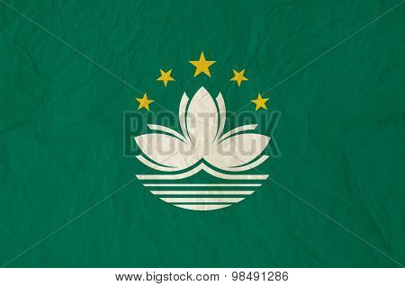 Flag Of Macau With Vintage Old Paper Texture