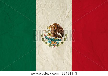 Flag Of The Mexico With Vintage Old Paper