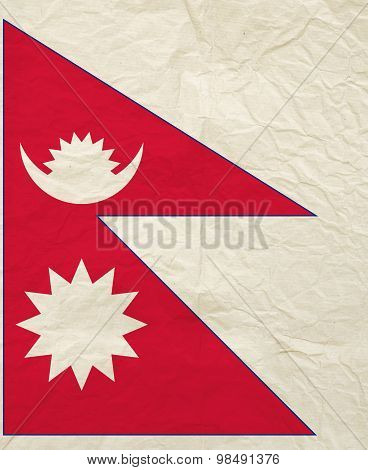 Flag Of Nepal With Vintage Old Paper