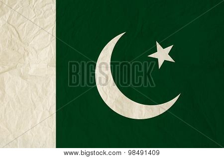 Flag Of Pakistan With Vintage Old Paper Texture