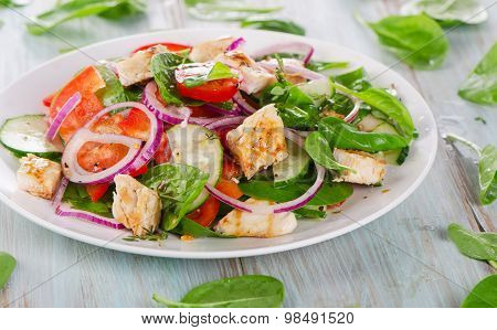 Fresh Salad With Chicken Breast.