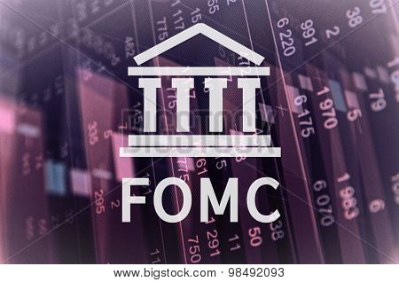 Building icon with inscription FOMC