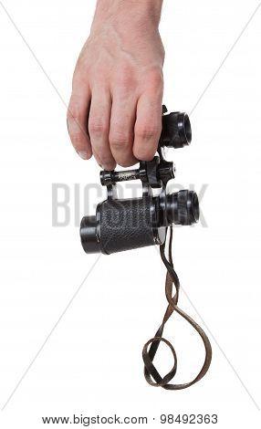 Vintage Binocular In Mans Hand