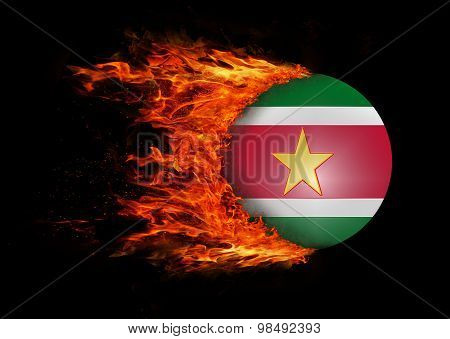 Flag With A Trail Of Fire - Suriname