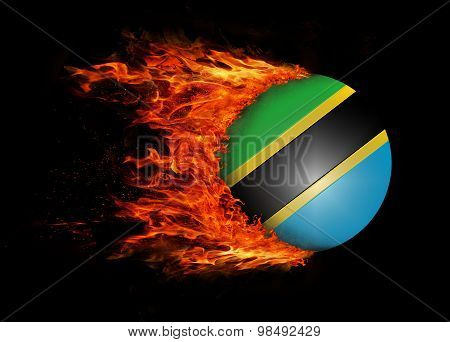 Flag With A Trail Of Fire - Tanzania