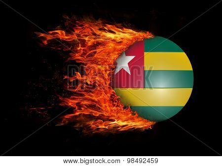 Flag With A Trail Of Fire - Togo