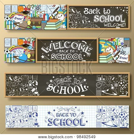 Back to school horizontal banners.Banners set with school supplies, chalkboard and doodles.