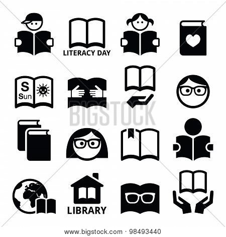 Children and adults reading book, International Literacy Day icons